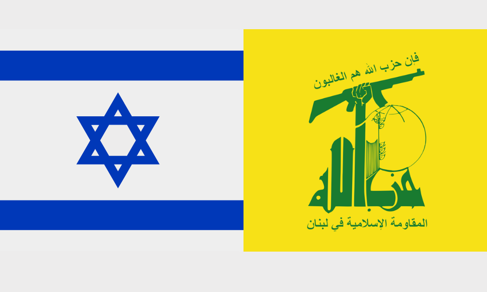 Hezbollah and Israel flags