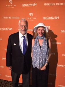 "June 11, 2015- Nadine Epstein and contributing writer Wesley G. Pippert in New York City at The Mirror Awards honoring excellence in media industry reporting. (Wes' story ""The Adelson Effect"" was a finalist.)"