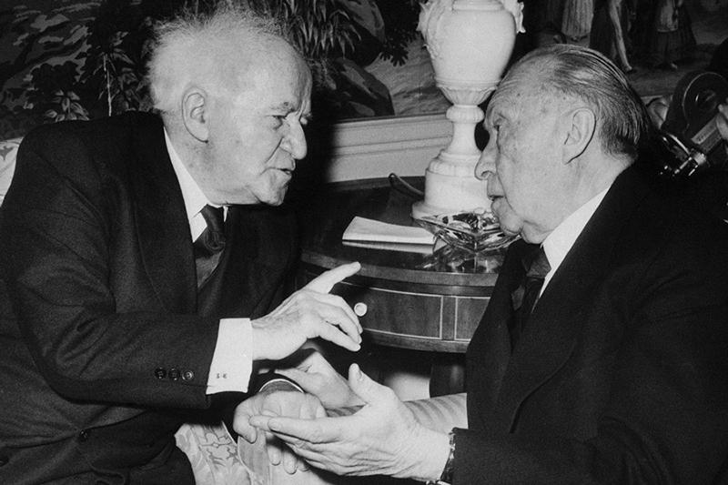 Prime Minister David Ben-Gurion with German Chancellor Konrad Adenauer in New York in 1960.