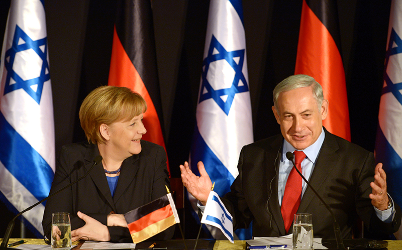 German Chancellor Angela Merkel with Israeli Prime Minister Benjamin Netanyahu