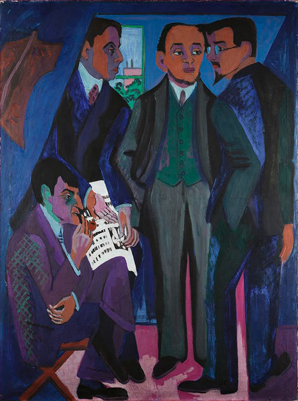 A Group of Artists (The Painters of the Brücke) was painted in 1925–26 by Ernst Ludwig Kirchner. Considered an icon of modern German art, it pictures four key members of the Brücke, or Bridge, an avant-garde group founded in Dresden in 1905 and noted for its expressive brushwork and bold, unexpected color.