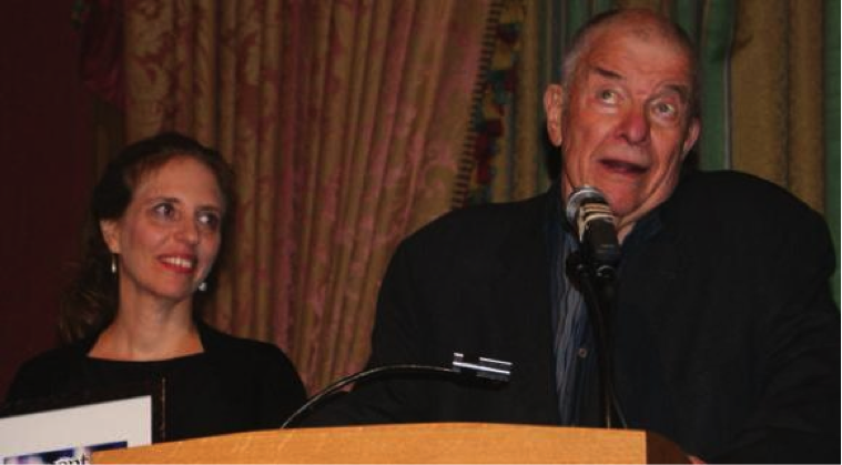 "Leonard ""Leibel"" Fein Speaking at an Event"