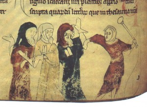 Jews being attacked, as depicted in a 13th century English manuscript.