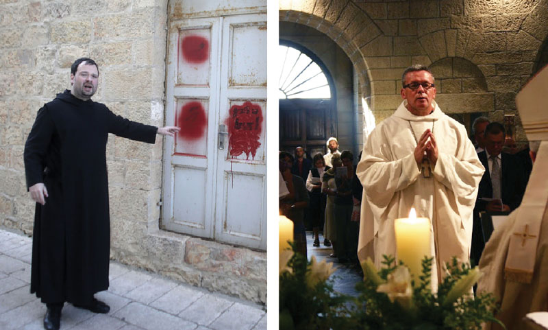 Left: Benedictine Father Nikodemus Schnabel points to graffiti. Right: Benedictine Father Gregory Collins prays in the Dormition Abbey. © AFP; Weihnachtsaktion