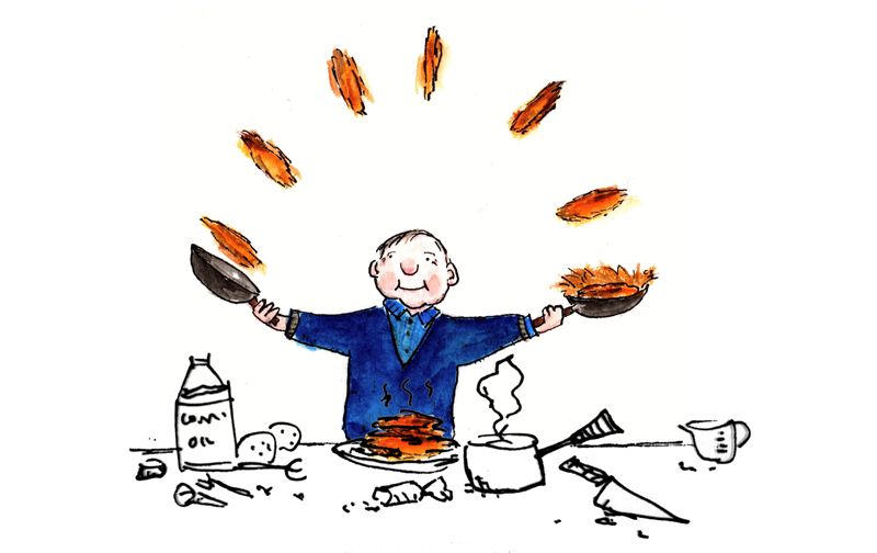 cooking latkes cartoon