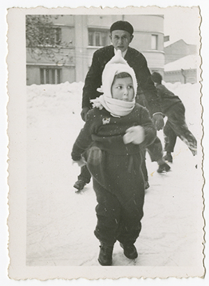 Ruth Roskies Wisse, whose mother, Masha, was Annushka's half sister, skates in Czernowitz, Romania, in the winter of 1939 or 1940. She is now a a professor of Yiddish at Harvard (recovered from album smuggled out of Kovno ghetto during the Holocaust).