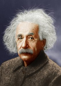Colorized image of Albert Einstein (1939).