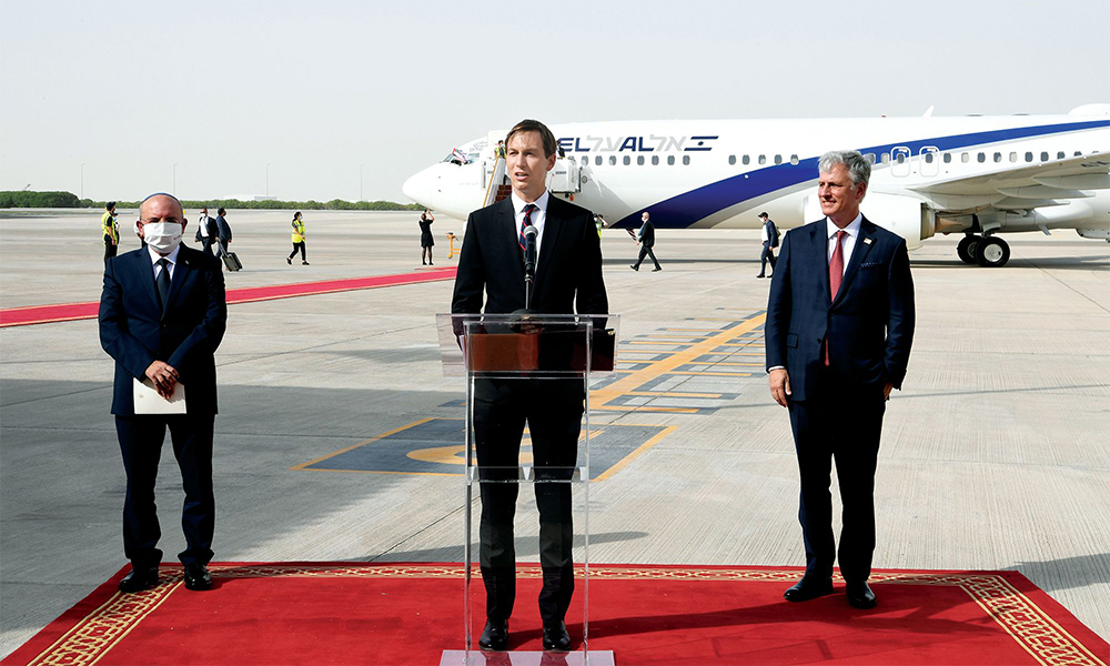 Kushner with a delegation of Israeli officials at the arrival of the El Al flight to the Abu Dhabi International Airport on August 31, 2020 following the first-ever flight from Israel to the United Arab Emirates.
