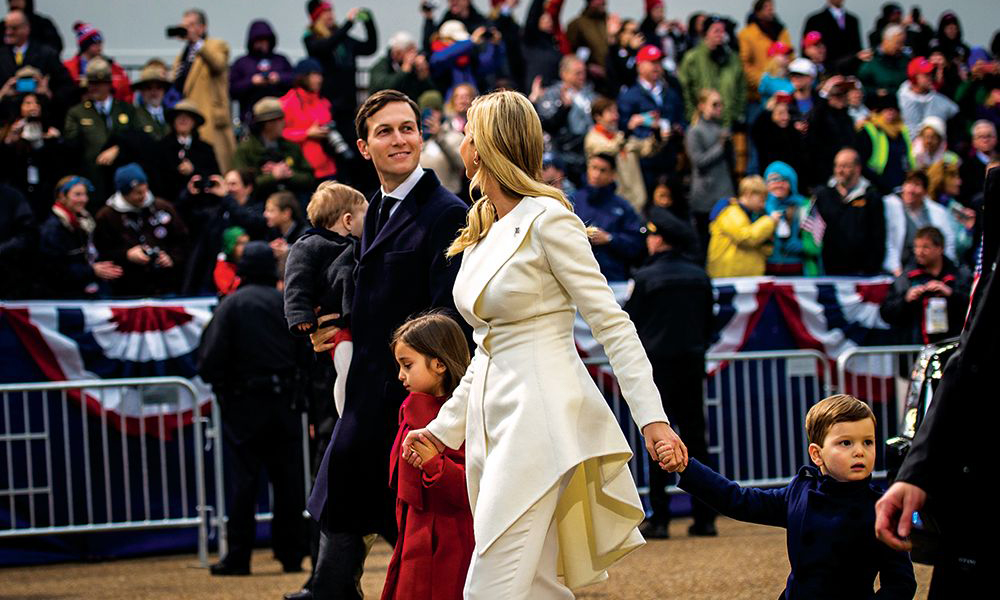 Kushner and his wife, Ivanka Trump, walk with their three children— (from left) Theodore, Arabella and Joseph— during the 2017 presidential inauguration parade.