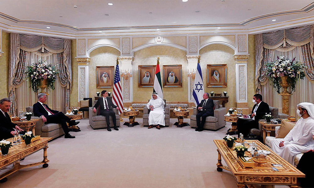 UAE Minister of State for Foreign Affairs Anwar Mohammed Gargash (center), Kushner (left) and Israeli National Security Advisor Meir Ben-Shabbat (right) during a meeting in Abu Dhabi on August 31, 2020.
