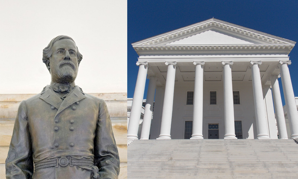 A bronze statue of Robert E. Lee (above) stood in the old House of Delegates chamber in the Virginia State Capitol (above right) until it was removed in July