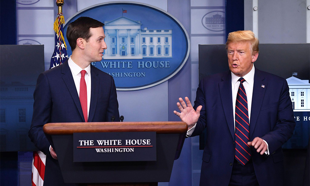 President Trump interrupts Kushner as he speaks at a coronavirus briefing at the White House on April 2, 2020. At the time, 5,700 people had died from the virus in the United States.