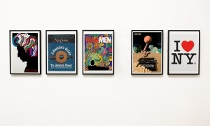 Examples of Milton Glaser's graphic designs: from left: Bob Dylan poster, 1967; New York magazine cover, 1968; AMC Mad Men Season Seven poster, 2014; Olivetti Lexicon poster, 1977. Glaser's iconic I LOVE NY logo, 1977.