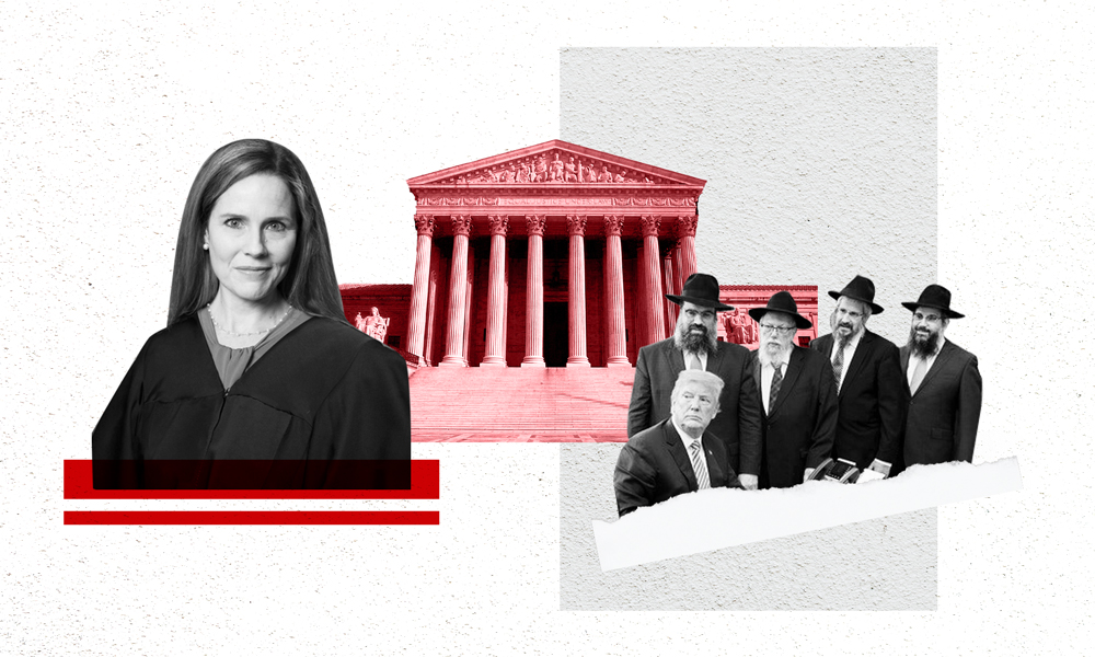 Collage of images: Amy Coney Barrett, the Supreme Court building, Trump with a group of ultra-Orthodox Jews