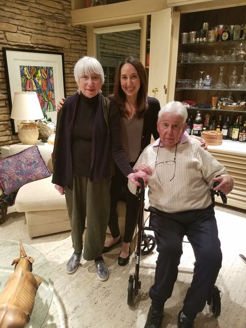 Nina with her parents, Kathy and Ron, at their home in Highland Park, Illinois, 2019.