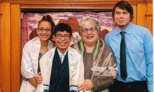 With her children, Elana, Aaron and Joel at Aaron's Bar Mitzvah, October 18, 2014, Temple Beth Emeth.
