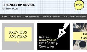 Nina's friendship advice website