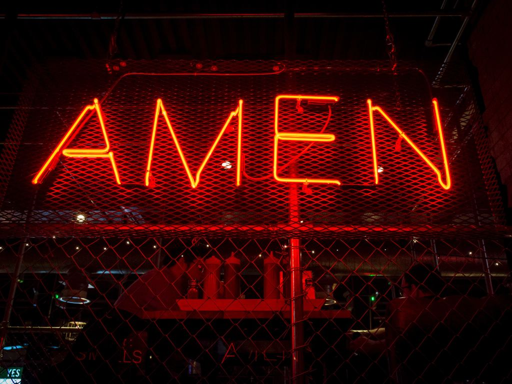 Neon Amen sign