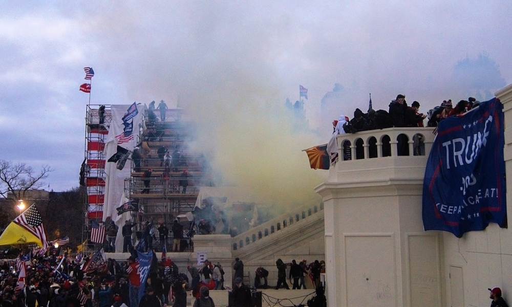 Tear gas outside the United States Capitol on 6 January 2021
