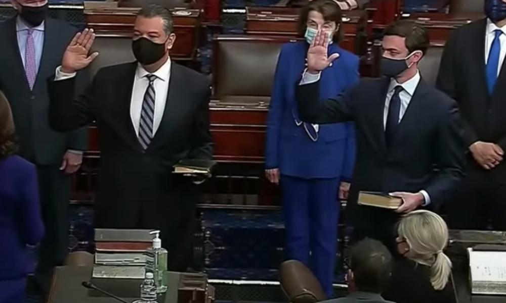 Two new Senators from Georgia—Raphael Warnock and Jon Ossoff, Georgia's first Jewish senator, being sworn in by Vice President Kamala Harris.