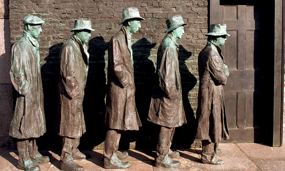 "Segal's 1991 ""Depression Bread Line,"" made of plaster, wood and metal and cast in bronze, was commissioned for the FDR Memorial in Washington, DC. Figures include a life-cast of Segal himself."