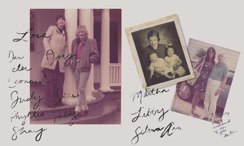 Judith Viorst (l) and sister Lois in Washington, D.C. 1980s. Ruth Stahl and her daughters, Lois (l) and Judith in the early 1930s in Newark, N.J. Viorst and her father, Martin Stahl, in the early 1970s in Maplewood, New Jersey.
