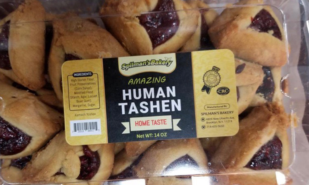 "Hamentashan cookies are shown with the label ""Human Tashen."""