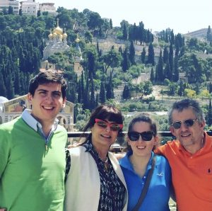 Raphael Levy, first from left, and his sister, Danielle, third from left, in Israel in 2015, the first year they both voted. Photo courtesy of Raphael Levy.
