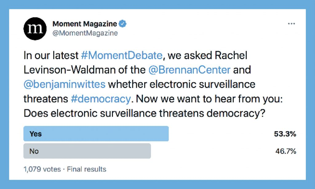 A twitter poll among Moment readers about electronic surveillance.