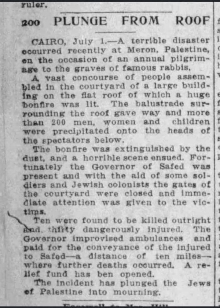 Newspaper clipping about the Meron balcony collapse