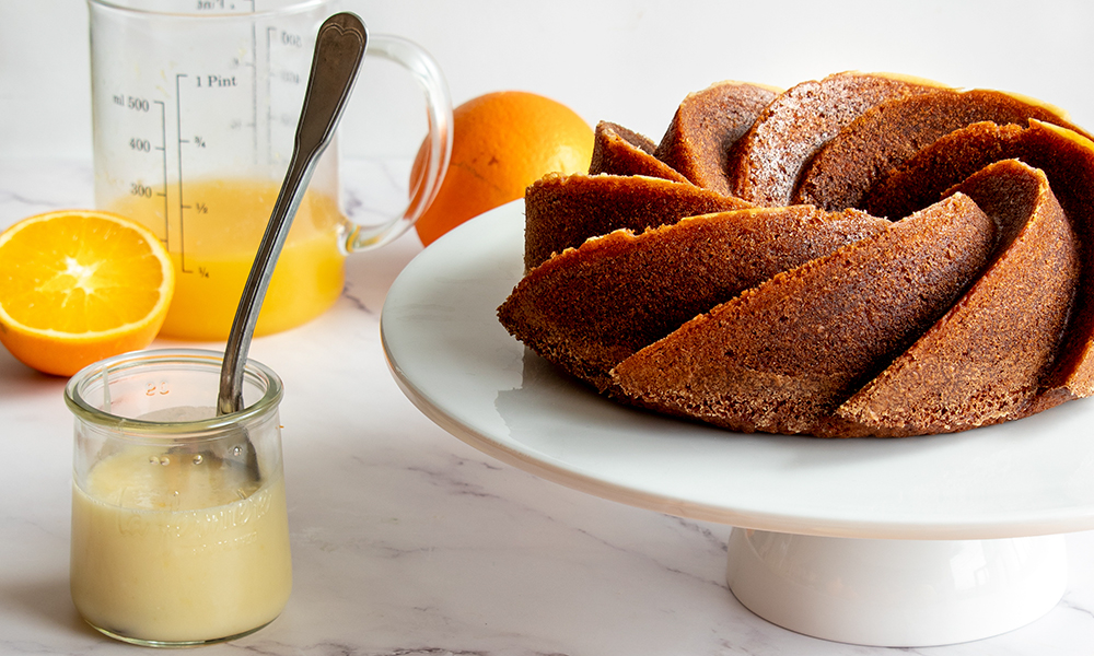 A orange Bundt cake.