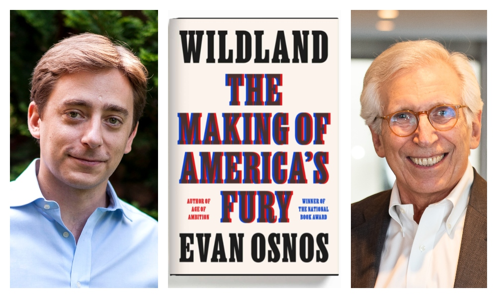 """Evan Osnos with his father and new book """"The Making of America's Fury."""""""