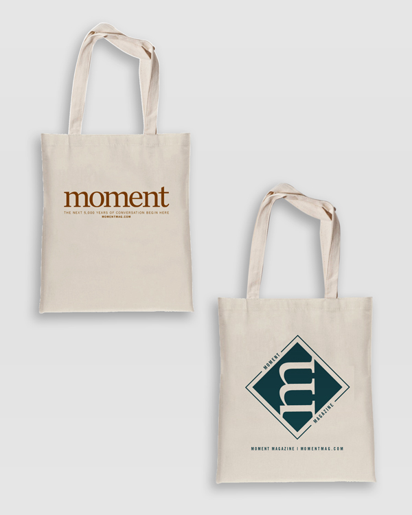 Tote Bag with Moment logo and totebag with M